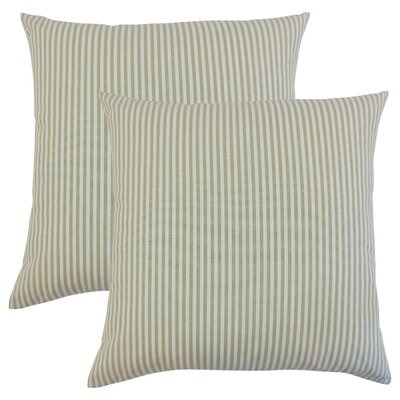 Montego Stripes Cotton Throw Pillow Color: Sage