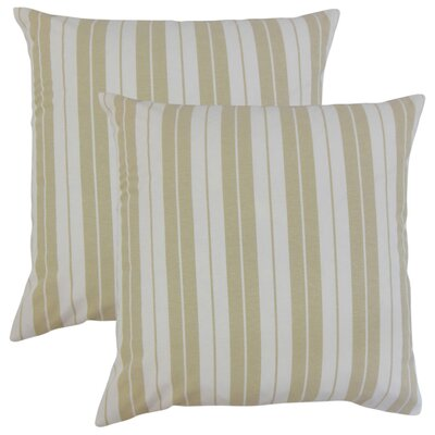 Capri Stripes Cotton Throw Pillow Color: Beige