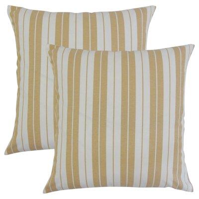 Capri Stripes Cotton Throw Pillow Color: Honey