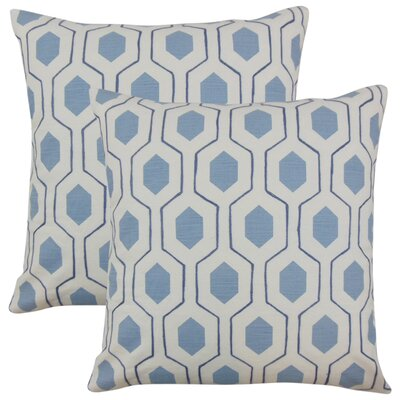 Edmondo Geometric Cotton Throw Pillow Color: Blue