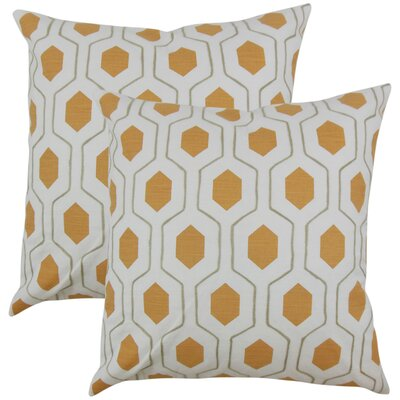 Edmondo Geometric Cotton Throw Pillow Color: Orange