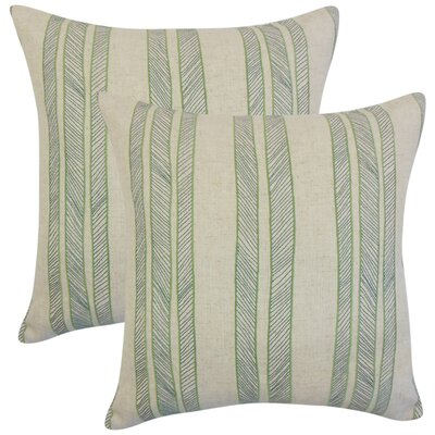 Picard Stripes Throw Pillow Color: Green