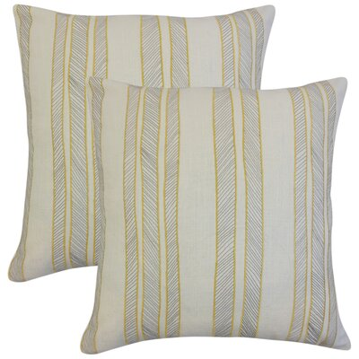 Picard Stripes Throw Pillow Color: Orange
