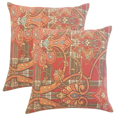 Whilby Cotton Throw Pillow Color: Cranberry