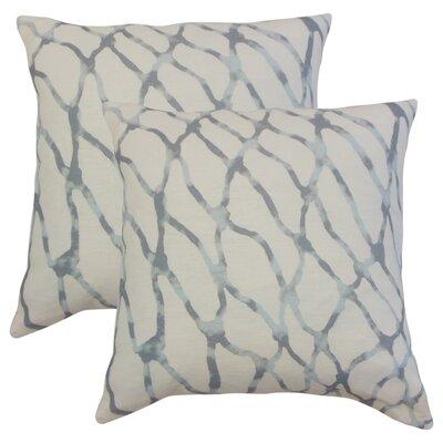 Ritter Graphic Linen Throw Pillow Color: Blue