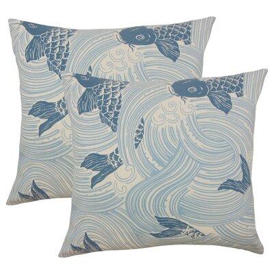 Yuriko Graphic Cotton Throw Pillow Color: Ocean Blue
