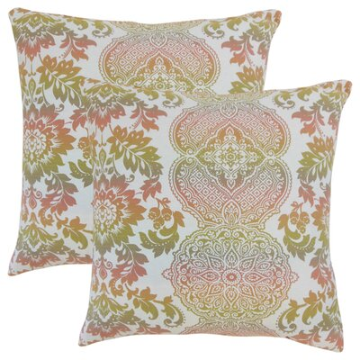 Nakety Damask Cotton Throw Pillow Color: Pink
