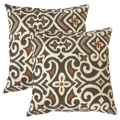 Amott Damask Cotton Throw Pillow Color: Terrain