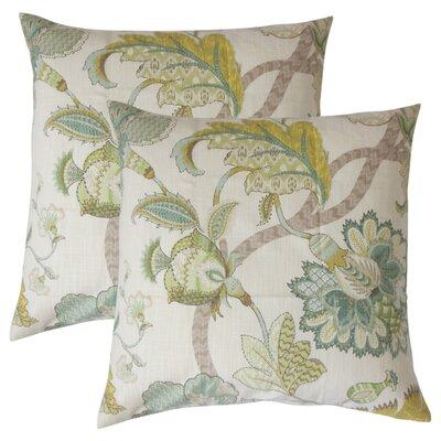 Edlin Floral Cotton Throw Pillow Color: Aqua Green