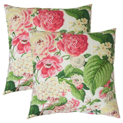 Hollis Floral Cotton Throw Pillow Color: Rose/Green