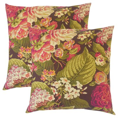 Hollis Floral Cotton Throw Pillow Color: Russett