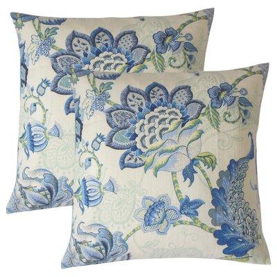 Guilaine Floral Linen Throw Pillow Color: Blue