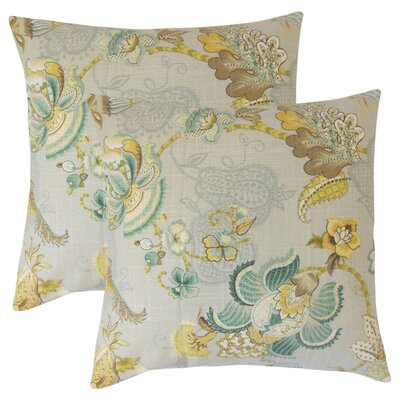 Guilaine Floral Linen Throw Pillow Color: Paltinum/Olive