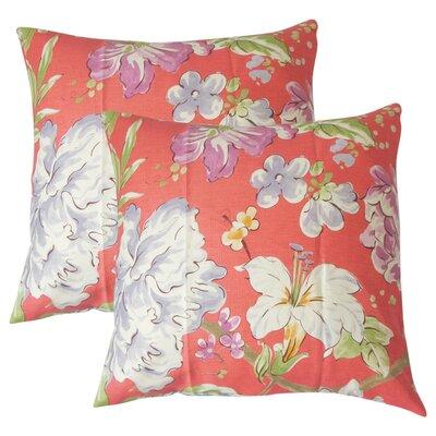Barney Floral Throw Pillow Color: Flamingo