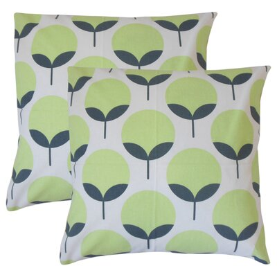Renata Geometric Cotton Throw Pillow Color: Kiwi