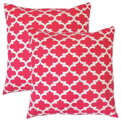 Luigi Geometric Cotton Throw Pillow Color: Pink