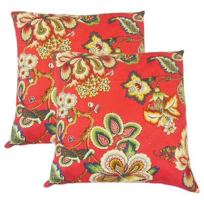 Basilio Floral Cotton Throw Pillow Color: Garnet