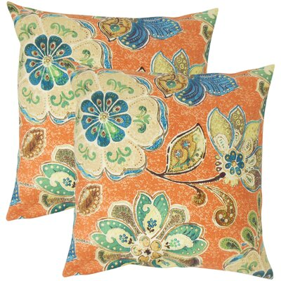Filippo Floral Cotton Throw Pillow Color: Henna