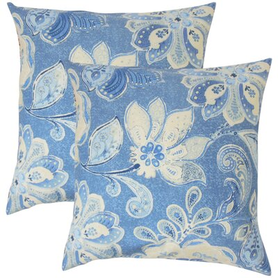 Filippo Floral Cotton Throw Pillow Color: Porcelain