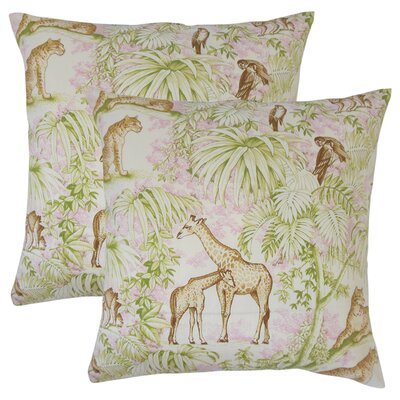 Xanthe Graphic Cotton Throw Pillow Color: Pink
