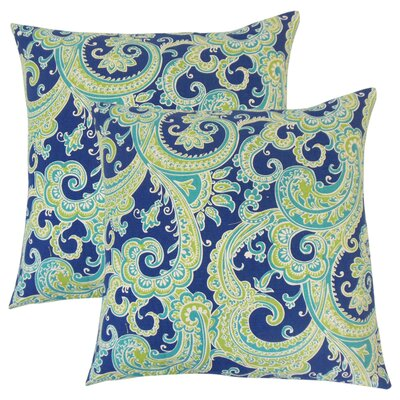 Zaritt Paisley Cotton Throw Pillow Color: Aqua