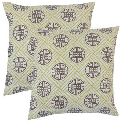 Amos Geometric Linen Throw Pillow Color: Lime