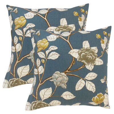 Gualtiero Floral Cotton Throw Pillow Color: Blue