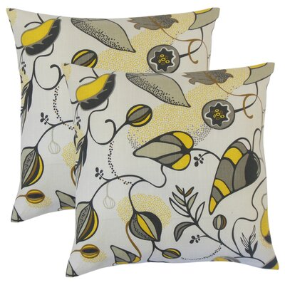 Styron Floral Cotton Throw Pillow Color: Citrine