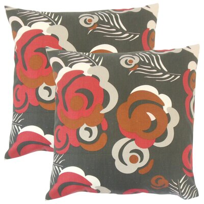 Zona Floral Cotton Throw Pillow Color: Black