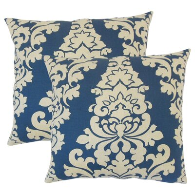 Guglielmo Damask Cotton Throw Pillow Color: Indigo
