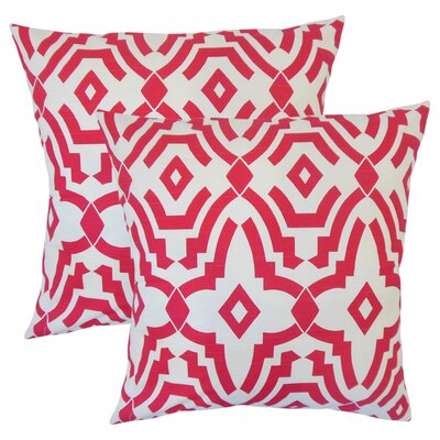 Bramblett Geometric Cotton Throw Pillow Color: Pink