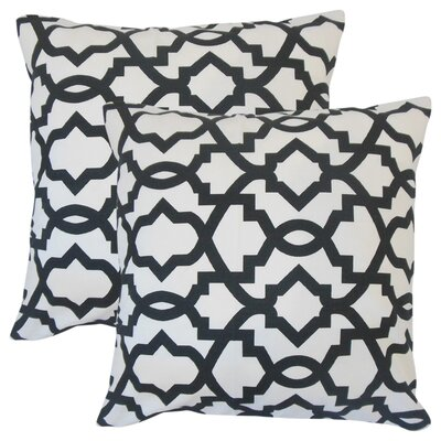 Wolfson Geometric Cotton Throw Pillow Color: Black