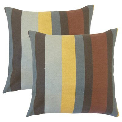 Tahsha Stripes Cotton Throw Pillow Color: Gray