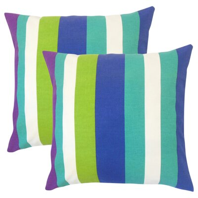 Tahsha Stripes Cotton Throw Pillow Color: Blue
