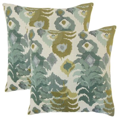 Summerlin Ikat Throw Pillow Color: Blue