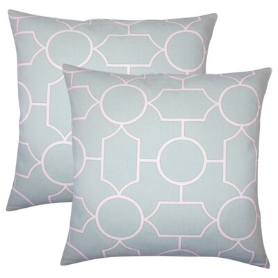 Syrianus Geometric Cotton Throw Pillow Color: Sea Glass