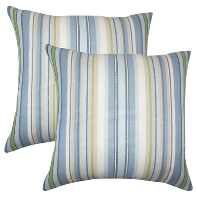 Henderson Striped Throw Pillow Color: Light Blue