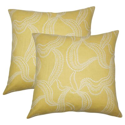 Nuzzo Graphic Linen Throw Pillow Color: Buttercup