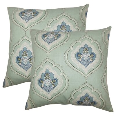 Maricela Floral Cotton Throw Pillow Color: Sea Green