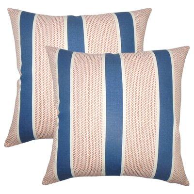 Varela Striped Cotton Throw Pillow Color: Pink/Green