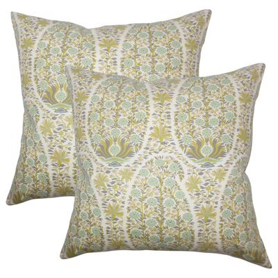 Lennie Floral Cotton Throw Pillow Color: Celadon