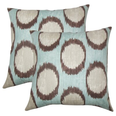 Nyberg Ikat Cotton Throw Pillow Color: Turquoise
