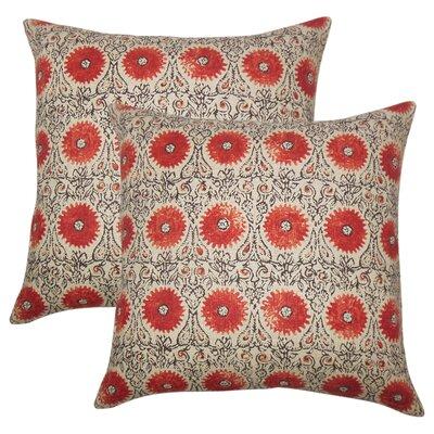 Arroyo Grande Floral Linen Throw Pillow Color: Spice