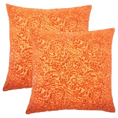 Winans Damask Throw Pillow Color: Tangerine