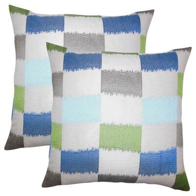Rowen Geometric Throw Pillow Color: Blue/Green