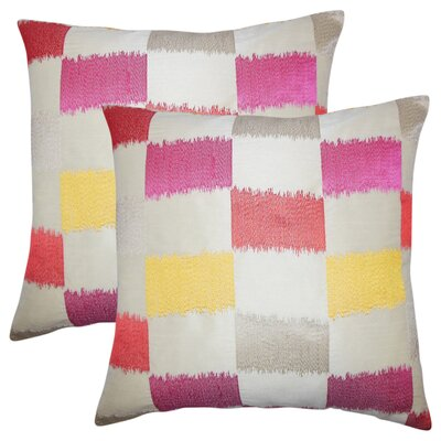 Rowen Geometric Throw Pillow Color: Flame