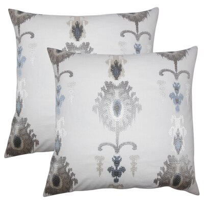 Gamble Ikat Cotton Throw Pillow Color: Platinum