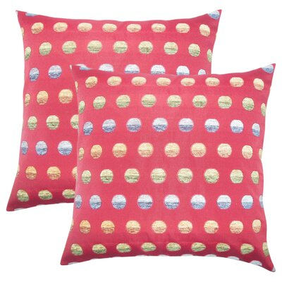 Anthem Polka Dots Throw Pillow Color: Red