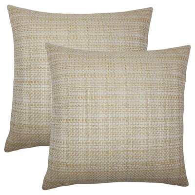 Polytric Plaid Throw Pillow Color: Wheat