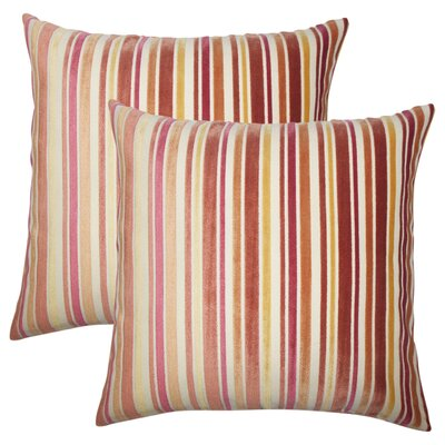 Griffeth Striped Throw Pillow Color: Melon